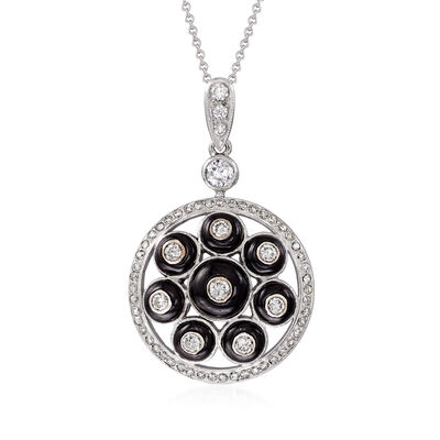 C. 1980 Vintage Black Onyx and .75 ct. t.w. Diamond Pendant Necklace in 18kt White Gold