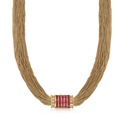 C. 1980 Vintage 18kt Yellow Gold Multi-Strand Necklace with 6.30 ct. t.w. Ruby and .50 ct. t.w. Diamond Clasp in 18kt Gold