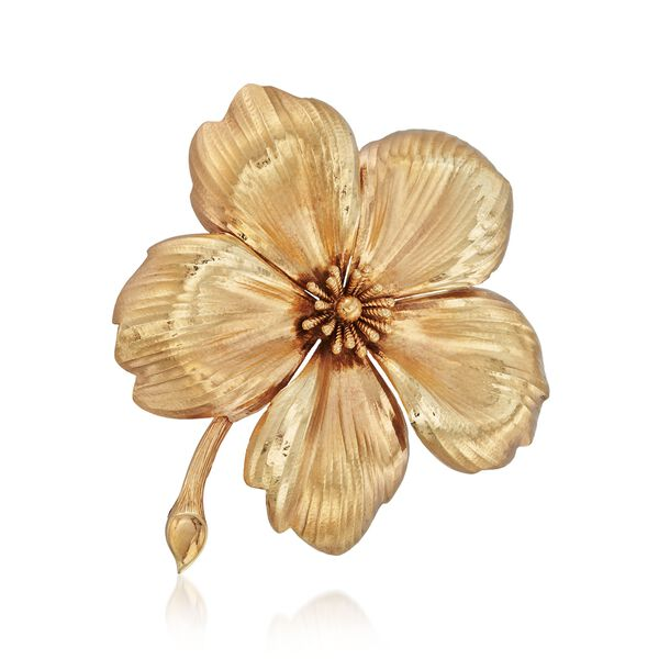 C. 1960 Vintage Tiffany Jewelry 14kt Yellow Gold Flower Pin #882296