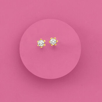 Child's Diamond Studs in 14-Karat Yellow Gold, , default
