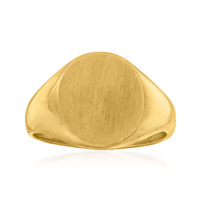 C. 1970 Vintage 14kt Yellow Gold Oval Signet Ring