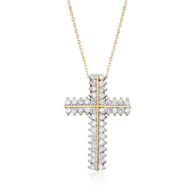 C. 1980 Vintage 4.00 ct. t.w. Diamond Cross Pendant Necklace in 10kt Yellow Gold, , default