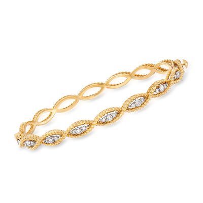 """Roberto Coin """"Barocco"""" .56 ct. t.w. Diamond Twisted Bracelet in 18kt Two-Tone Gold, , default"""