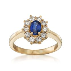 C. 1980 Vintage .45 Carat Sapphire and .50 ct. t.w. Diamond Ring in 18kt Yellow Gold, , default