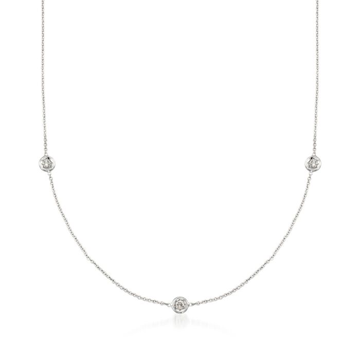 "Roberto Coin .15 Carat Total Weight Diamond Station Necklace in 18-Karat White Gold. 16"", , default"