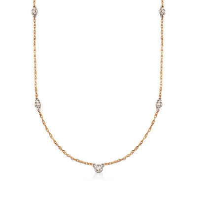 C. 1980 Vintage .30 ct. t.w. Diamond Station Necklace in 14kt Yellow Gold, , default