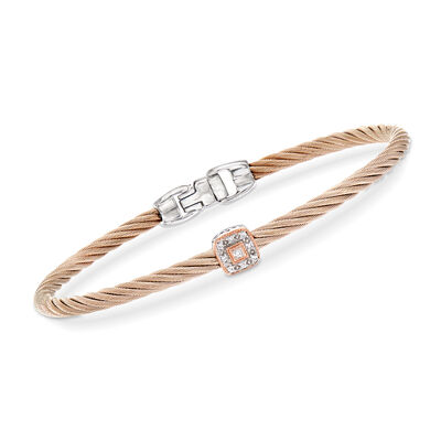 "ALOR ""Shades of Alor"" Blush Carnation Cable Station Bracelet with Diamond Accents in Stainless Steel and 18kt White and Rose Gold, , default"