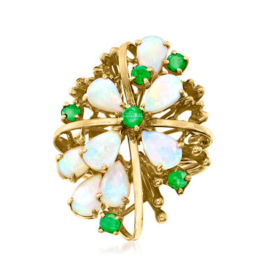 C. 1970 Vintage Opal and .45 ct. t.w. Emerald Cluster Ring in 14kt Yellow Gold