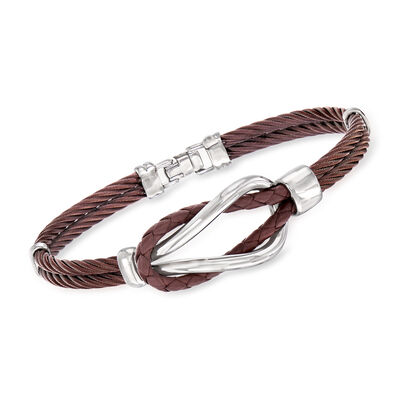 ALOR Men's Brown Leather and Stainless Steel Cable Knot Bracelet