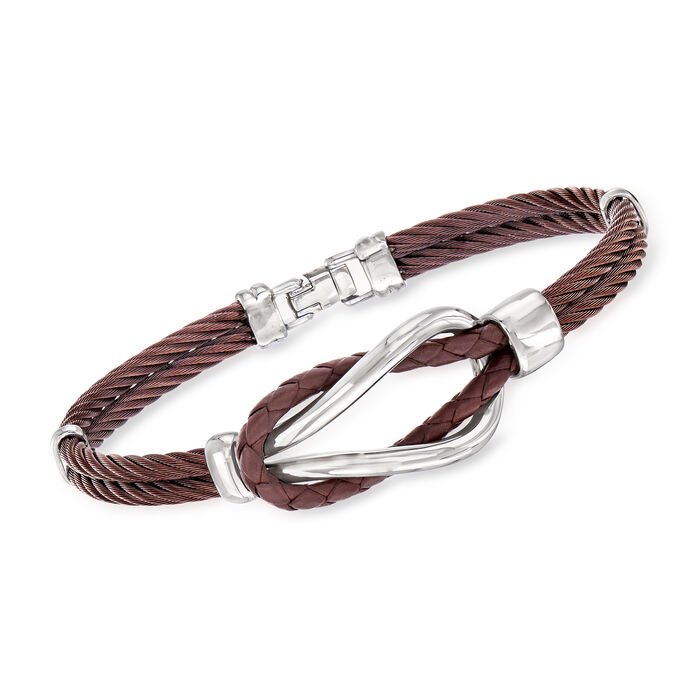 """ALOR Men's Brown Stainless Steel Cable Knot Bracelet. 8"""""""