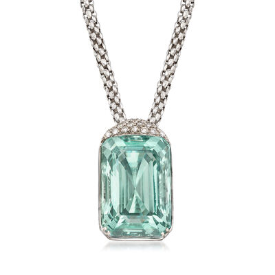 C. 1990 Vintage 75.00 Carat Aquamarine and .55 ct. t.w. Diamond Pendant Necklace in 18kt White Gold