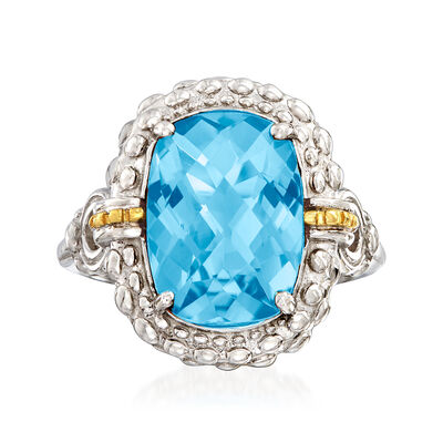 "Phillip Gavriel ""Popcorn"" 6.00 Carat Blue Topaz Ring in Sterling Silver with 18kt Yellow Gold  , , default"