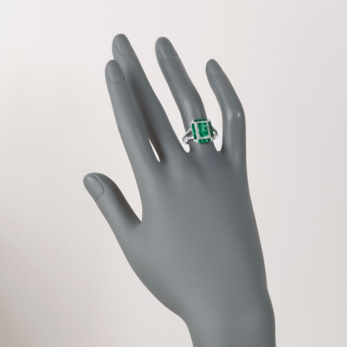 Gregg Ruth 1.80 ct. t.w. Emerald and .34 ct. t.w. Diamond Ring in 18kt White Gold