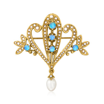 C. 1960 Vintage Cultured Pearl and Opal Pin/Pendant in 14kt Yellow Gold