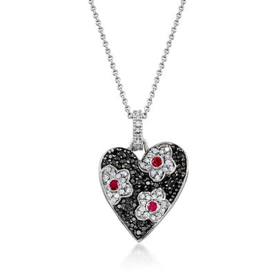 C. 2000 Vintage .85 ct. t.w. Black and White Diamond and .25 ct. t.w. Ruby Heart Pendant Necklace in 18kt White Gold, , default