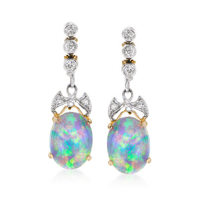 C. 1915 Vintage Black Opal and .25 ct. t.w. Diamond Bow Drop Earrings in Platinum and 14kt Gold