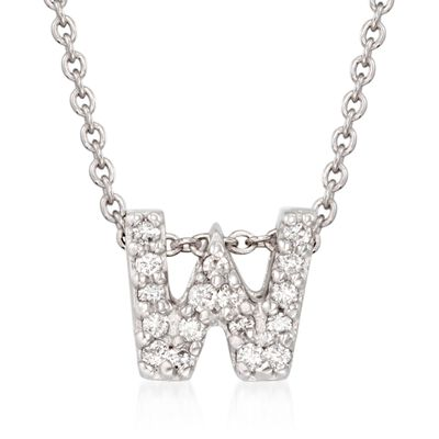 "Roberto Coin ""Love Letter"" Diamond Accent Initial ""W"" Necklace in 18kt White Gold, , default"