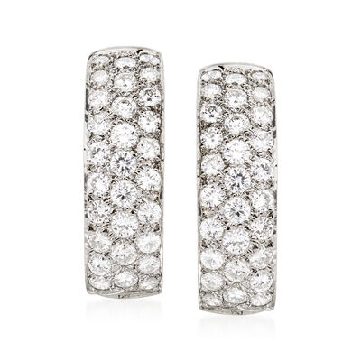 C. 1980 Vintage 2.00 ct. t.w. Diamond J-Hoop Earrings