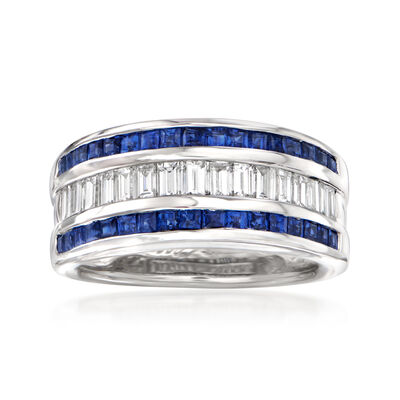 C. 1990 Vintage 1.06 ct. t.w. Sapphire .78 ct. t.w. Diamond Ring in 18kt White Gold