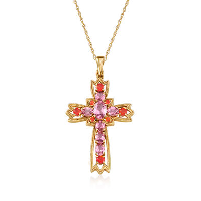C. 1990 Vintage 1.35 ct. t.w. Pink Tourmaline and .35 ct. t.w. Opal Cross Pendant Necklace in 14kt Yellow Gold, , default