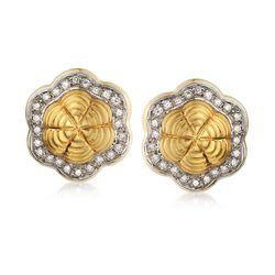 C. 1990 Vintage .75 ct. t.w. Diamond Floral Earrings in 18kt Yellow Gold, , default