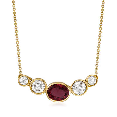 C. 1980 Vintage 1.55 Carat Garnet and 1.55 ct. t.w. Diamond Necklace in 14kt Yellow Gold