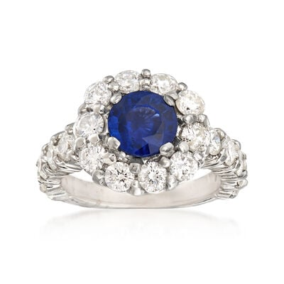 3.00 ct. t.w. Diamond and 2.35 Carat Sapphire Ring in 14kt White Gold