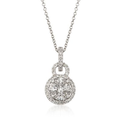 Simon G. .54 ct. t.w. Diamond Pendant Necklace in 18kt White Gold, , default