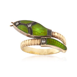 C. 1930 Vintage Green Enamel Snake Ring With Diamond Accents in 18kt Yellow Gold, , default
