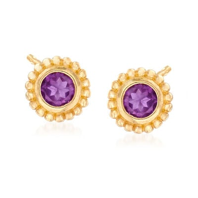 "Phillip Gavriel ""Popcorn"" .40 ct. t.w. Amethyst Stud Earrings in 14kt Yellow Gold"
