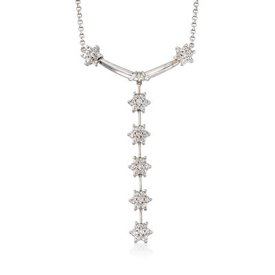 C. 2000 Vintage 1.75 ct. t.w. Diamond Flower Y Necklace in 14kt White Gold, , default