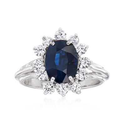 C. 1970 Vintage 2.25 Carat Sapphire and .75 ct. t.w. Diamond Ring in 18kt White Gold