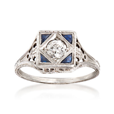 C. 1940 Vintage .40 Carat Diamond Ring with Synthetic Sapphire Accents in Platinum, , default