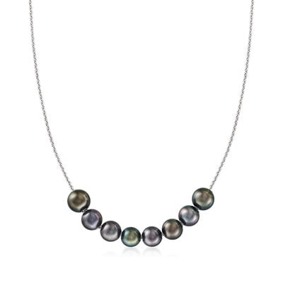 C. 1990 Vintage 8.5-9mm Black Cultured Pearl Station Necklace in 18kt White Gold