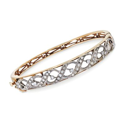 C. 1950 Vintage 1.00 ct. t.w. Diamond Woven Bangle Bracelet in 14kt Yellow Gold, , default