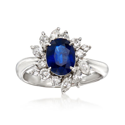 C. 1990 Vintage 1.66 Carat Sapphire and .74 ct. t.w. Diamond Ring in Platinum