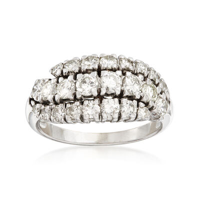 C. 1980 Vintage 1.50 ct. t.w. Diamond Three-Row Wave Ring in 14kt White Gold, , default