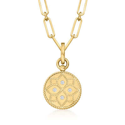 """Roberto Coin """"Venetian Princess"""" 18kt Yellow Gold Medallion Paper Clip Link Necklace with Diamond Accents"""