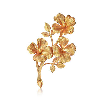 C. 1970 Vintage Tiffany Jewelry Flower Pin in 14kt Yellow Gold, , default