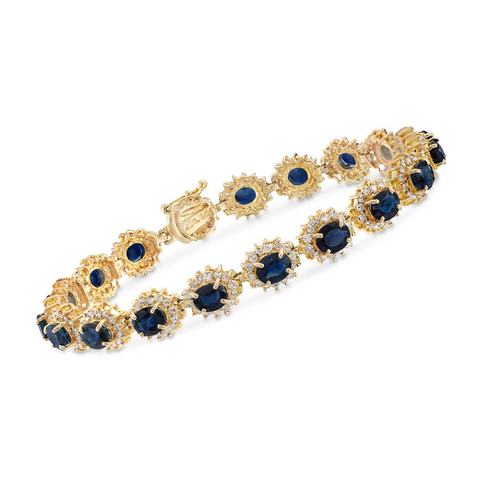 """C. 1990 Vintage 8.55 ct. t.w. Sapphire and 2.15 ct. t.w. Diamond Bracelet in 14kt Yellow Gold. 6.5"""", , default"""