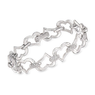 C. 1990 Vintage Piaget 1.50 ct. t.w. Diamond Heart Bracelet in 18kt White Gold