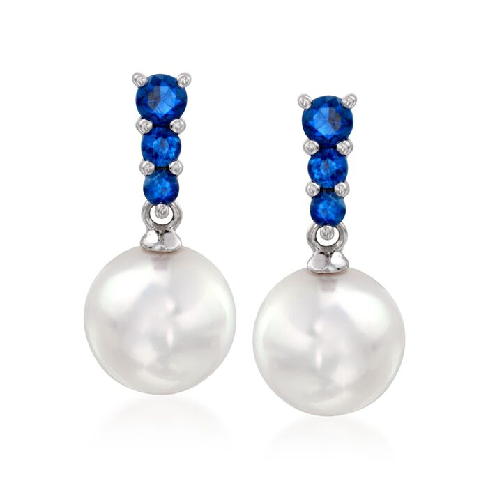 Mikimoto Akoya Pearl and .30 Carat Total Weight Sapphire Earrings in 18-Karat White Gold, , default