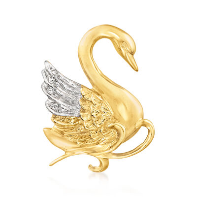 C. 1990 Vintage 14kt Two-Tone Gold Swan Pin with Diamond Accents