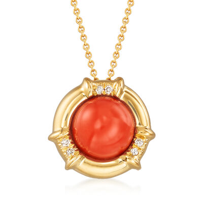 C. 1980 Vintage Tiffany Jewelry Coral Pendant Necklace with Diamond Accents in 18kt Yellow Gold, , default