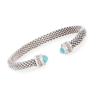 "Phillip Gavriel ""Popcorn"" .40 ct. t.w. Blue Topaz and .14 ct. t.w. Diamond Cuff Bracelet in Sterling Silver"
