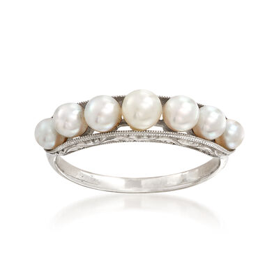 C. 1950 Vintage Cultured White Pearl Band Ring in 14kt White Gold, , default