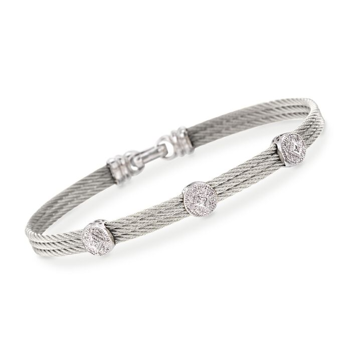 "ALOR Classique .14 Carat Total Weight Diamond Triple-Station Bracelet in Gray Stainless Steel and 18-Karat White Gold. 7"", , default"