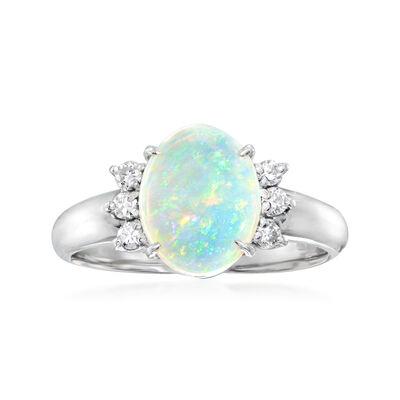C. 2000 Vintage Opal Ring with .16 ct. t.w. Diamonds in Platinum