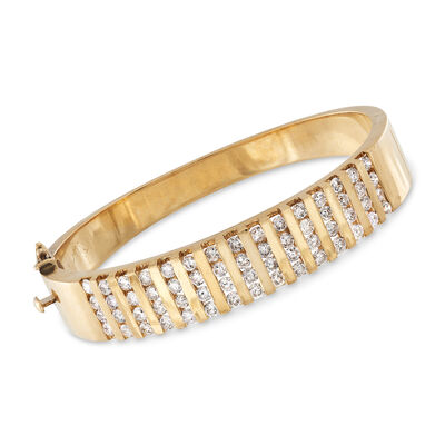 C. 1980 Vintage 4.20 ct. t.w. Diamond Bangle Bracelet in 14kt Yellow Gold