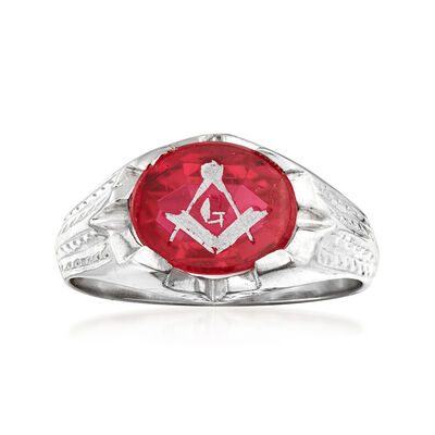 C. 1950 Vintage 3.00 Carat Synthetic Ruby Masonic Ring in 14kt White Gold